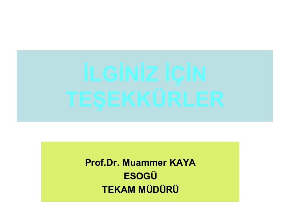 İLGİNİZ İÇİN TEŞEKKÜRLER Prof.Dr. Muammer KAYA ESOGÜ TEKAM MÜDÜRÜ