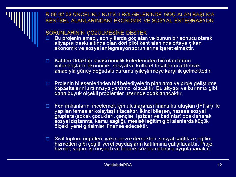WestMedaRDA12 R 05 02 03 ÖNCELİKLİ NUTS II BÖLGELERİNDE GÖÇ ALAN BAŞLICA KENTSEL ALANLARINDAKİ EKONOMİK VE SOSYAL ENTEGRASYON SORUNLARININ ÇÖZÜLMESİNE