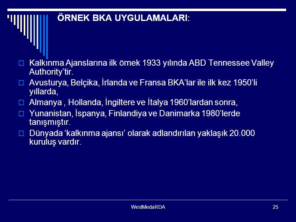 WestMedaRDA25 ÖRNEK BKA UYGULAMALARI:  Kalkınma Ajanslarına ilk örnek 1933 yılında ABD Tennessee Valley Authority'tir.  Avusturya, Belçika, İrlanda