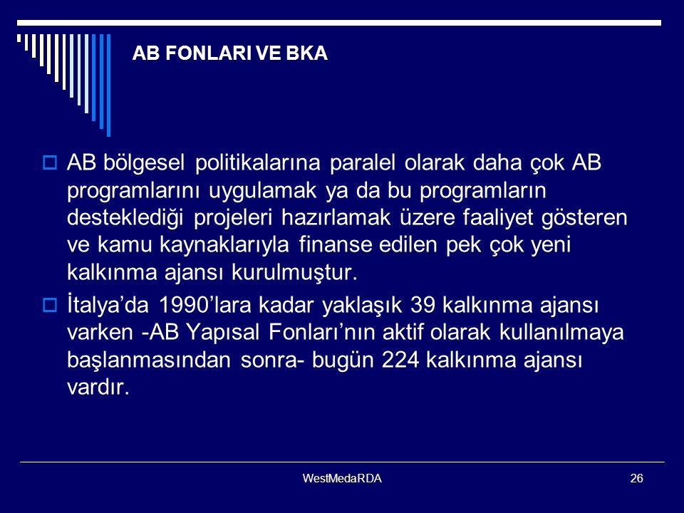 WestMedaRDA26 AB FONLARI VE BKA  AB bölgesel politikalarına paralel olarak daha çok AB programlarını uygulamak ya da bu programların desteklediği pro