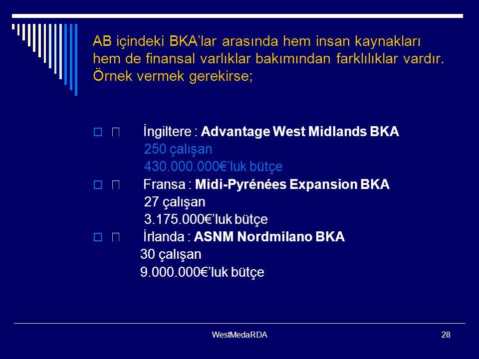 WestMedaRDA28 AB içindeki BKA'lar arasında hem insan kaynakları hem de finansal varlıklar bakımından farklılıklar vardır. Örnek vermek gerekirse;  İn
