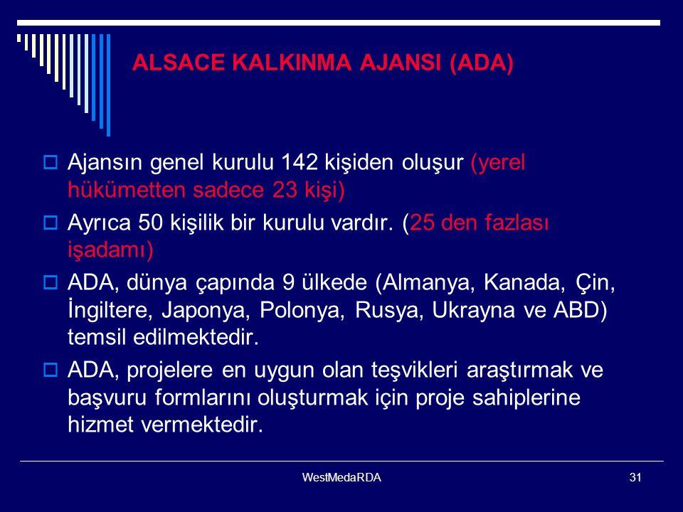 WestMedaRDA31 ALSACE KALKINMA AJANSI (ADA)  Ajansın genel kurulu 142 kişiden oluşur (yerel hükümetten sadece 23 kişi)  Ayrıca 50 kişilik bir kurulu