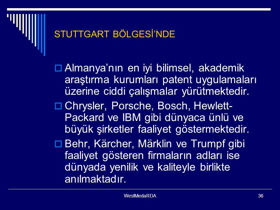 WestMedaRDA36 STUTTGART BÖLGESİ'NDE  Almanya'nın en iyi bilimsel, akademik araştırma kurumları patent uygulamaları üzerine ciddi çalışmalar yürütmektedir.