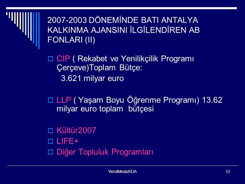 WestMedaRDA57 2007-2003 DÖNEMİNDE BATI ANTALYA KALKINMA AJANSINI İLGİLENDİREN AB FONLARI (II)  CIP ( Rekabet ve Yenilikçilik Programı Çerçeve)Toplam Bütçe: 3.621 milyar euro  LLP ( Yaşam Boyu Öğrenme Programı) 13.62 milyar euro toplam bütçesi  Kültür2007  LIFE+  Diğer Topluluk Programları