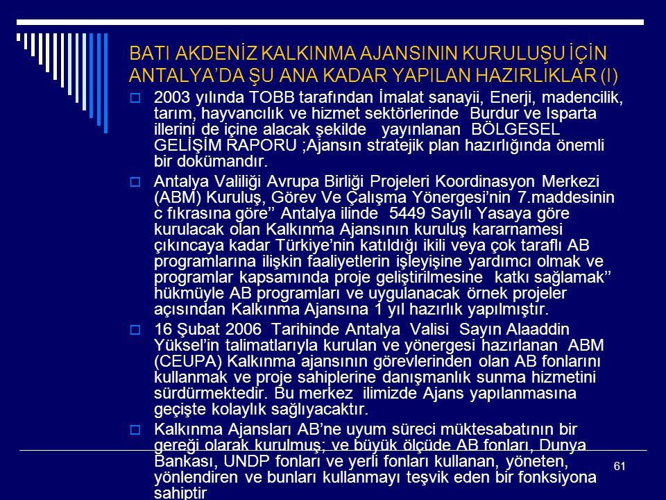 61 BATI AKDENİZ KALKINMA AJANSININ KURULUŞU İÇİN ANTALYA'DA ŞU ANA KADAR YAPILAN HAZIRLIKLAR (I)  2003 yılında TOBB tarafından İmalat sanayii, Enerji, madencilik, tarım, hayvancılık ve hizmet sektörlerinde Burdur ve Isparta illerini de içine alacak şekilde yayınlanan BÖLGESEL GELİŞİM RAPORU ;Ajansın stratejik plan hazırlığında önemli bir dokümandır.