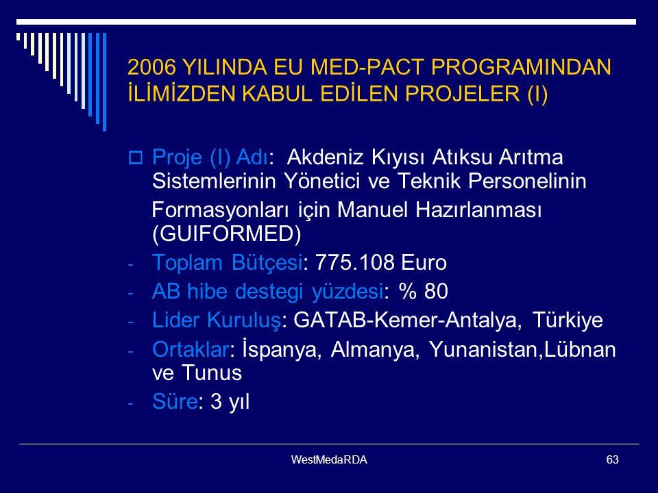 WestMedaRDA63 2006 YILINDA EU MED-PACT PROGRAMINDAN İLİMİZDEN KABUL EDİLEN PROJELER (I)  Proje (I) Adı: Akdeniz Kıyısı Atıksu Arıtma Sistemlerinin Yönetici ve Teknik Personelinin Formasyonları için Manuel Hazırlanması (GUIFORMED) - Toplam Bütçesi: 775.108 Euro - AB hibe destegi yüzdesi: % 80 - Lider Kuruluş: GATAB-Kemer-Antalya, Türkiye - Ortaklar: İspanya, Almanya, Yunanistan,Lübnan ve Tunus - Süre: 3 yıl