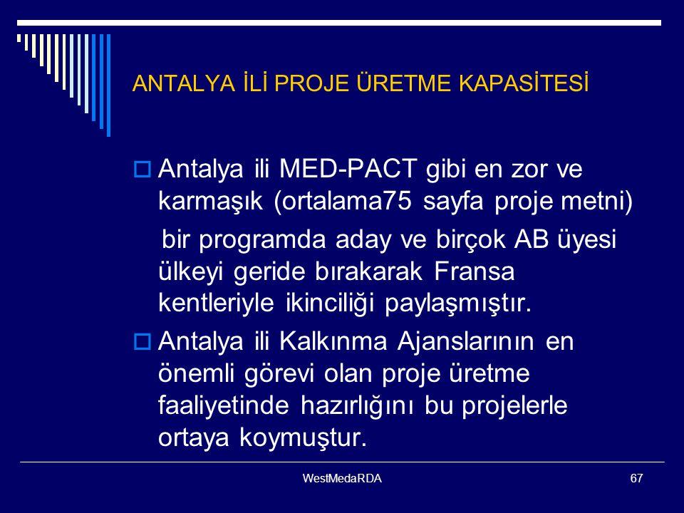 WestMedaRDA67 ANTALYA İLİ PROJE ÜRETME KAPASİTESİ  Antalya ili MED-PACT gibi en zor ve karmaşık (ortalama75 sayfa proje metni) bir programda aday ve