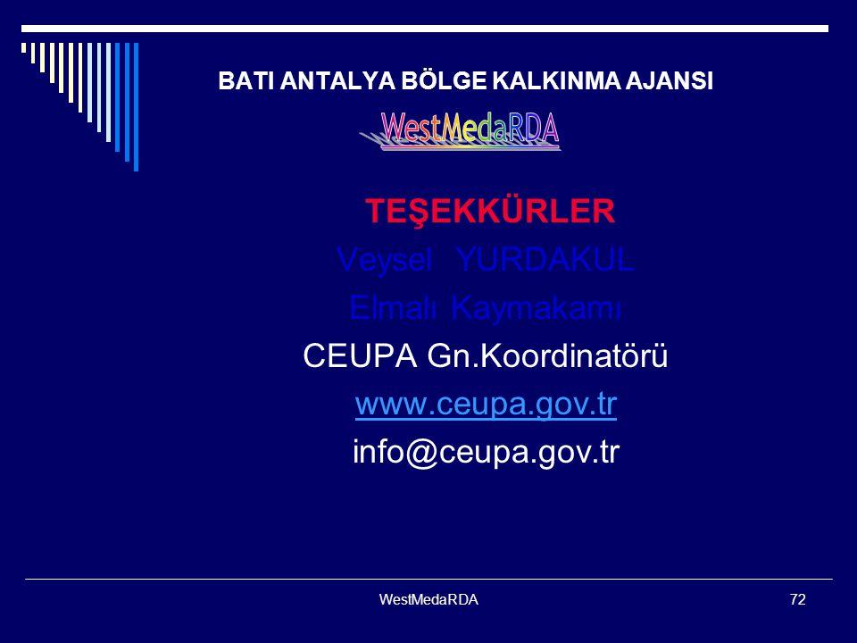WestMedaRDA72 BATI ANTALYA BÖLGE KALKINMA AJANSI TEŞEKKÜRLER Veysel YURDAKUL Elmalı Kaymakamı CEUPA Gn.Koordinatörü www.ceupa.gov.tr info@ceupa.gov.tr