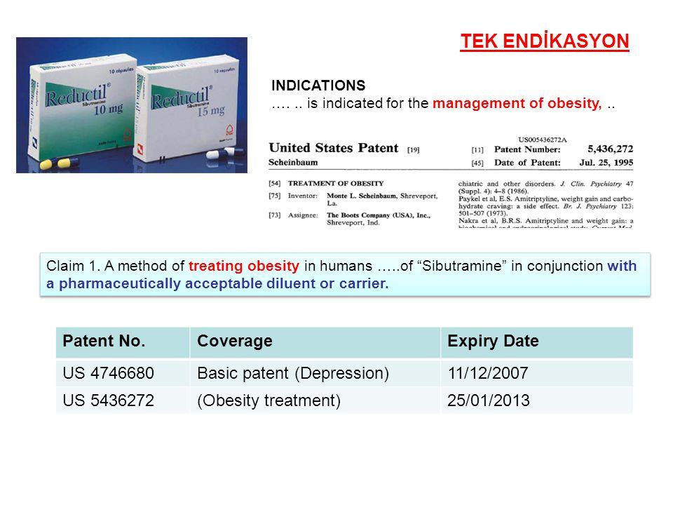 Patent No.CoverageExpiry Date US 4746680Basic patent (Depression)11/12/2007 US 5436272(Obesity treatment)25/01/2013 TEK ENDİKASYON Claim 1. A method o