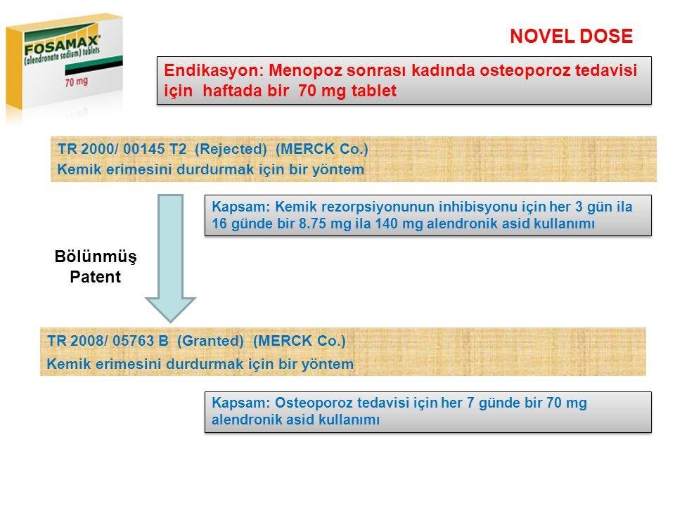 NOVEL DOSE Kapsam: Kemik rezorpsiyonunun inhibisyonu için her 3 gün ila 16 günde bir 8.75 mg ila 140 mg alendronik asid kullanımı Endikasyon: Menopoz