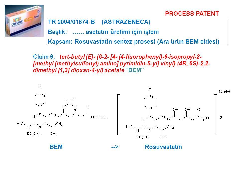 Claim 6. tert-butyl (E)- (6-2- [4- (4-fluorophenyl)-6-isopropyl-2- [methyl (methylsulfonyl) amino] pyrimidin-5-yl] vinyl} (4R, 6S)-2,2- dimethyl [1,3]