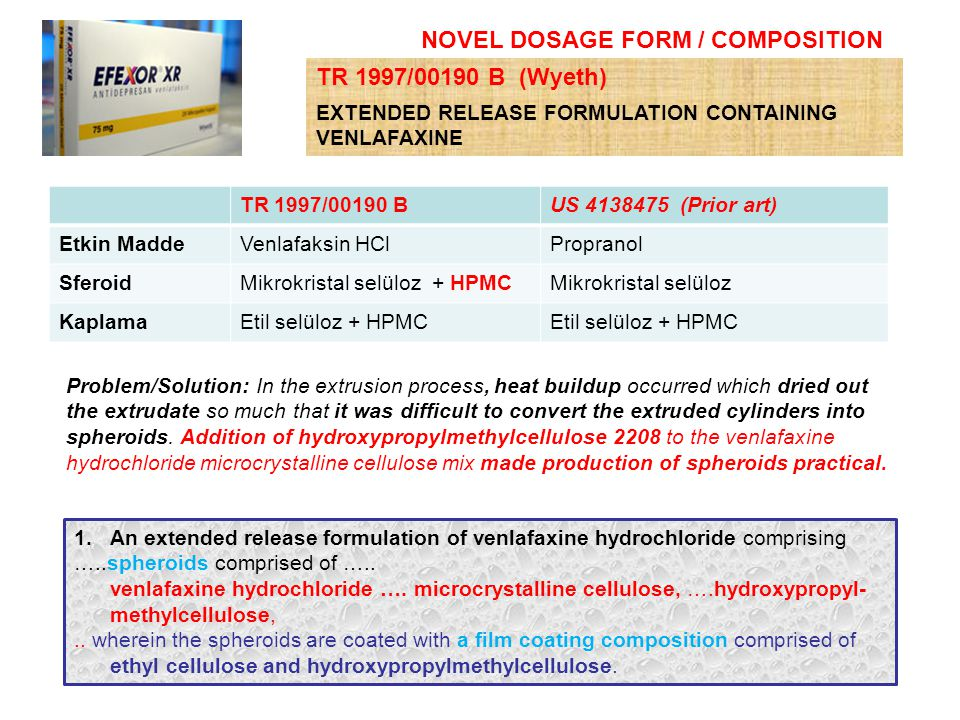 NOVEL DOSAGE FORM / COMPOSITION 1.An extended release formulation of venlafaxine hydrochloride comprising …..spheroids comprised of ….. venlafaxine hy