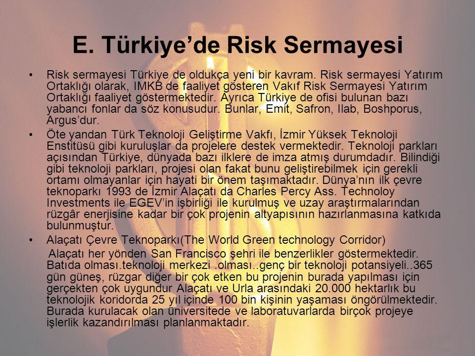 E. Türkiye'de Risk Sermayesi Risk sermayesi Türkiye de oldukça yeni bir kavram. Risk sermayesi Yatırım Ortaklığı olarak, IMKB de faaliyet gösteren Vak