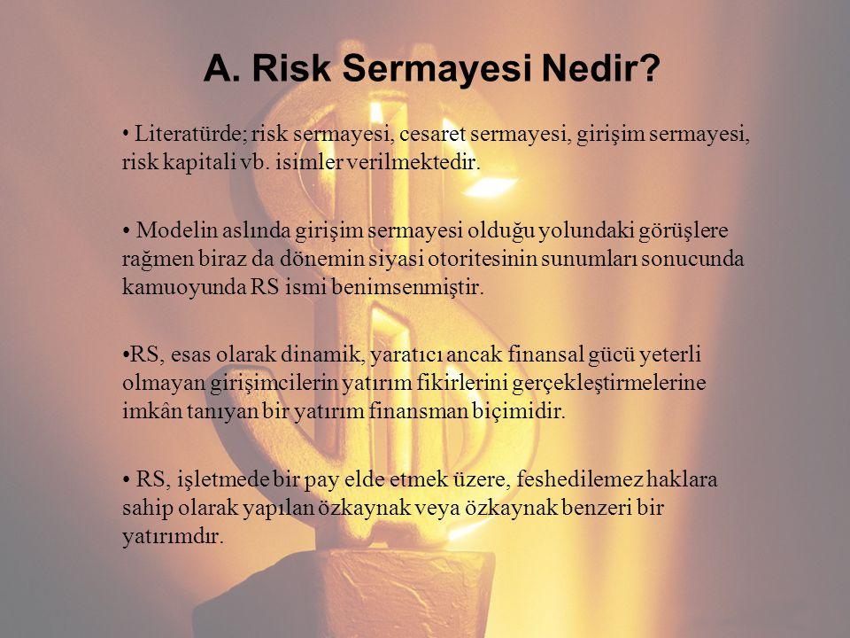 A. Risk Sermayesi Nedir? Literatürde; risk sermayesi, cesaret sermayesi, girişim sermayesi, risk kapitali vb. isimler verilmektedir. Modelin aslında g