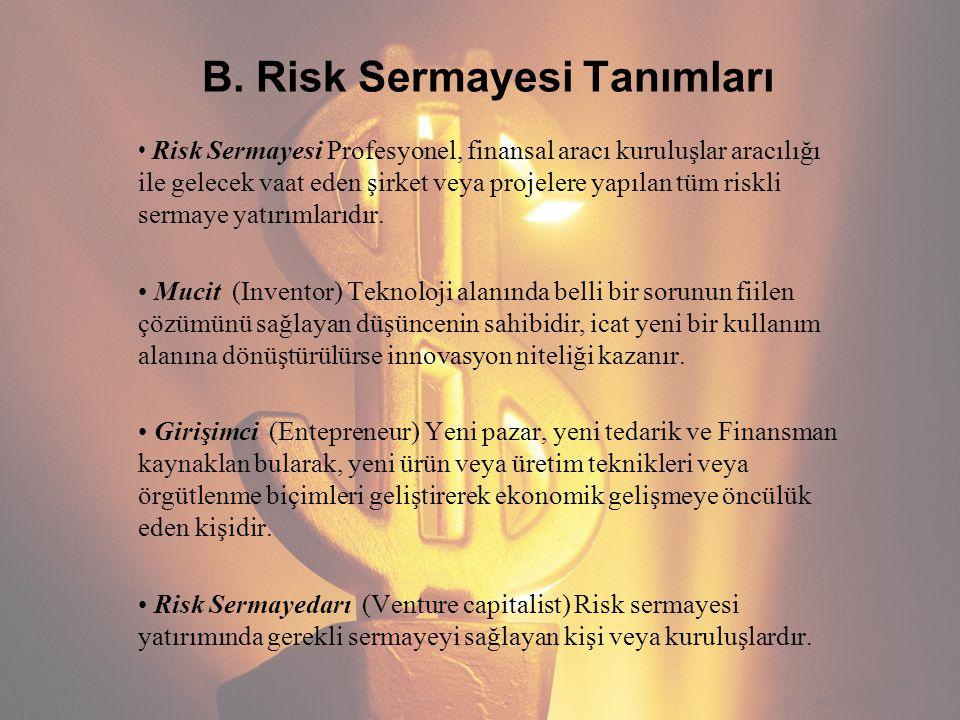 B. Risk Sermayesi Tanımları Risk Sermayesi Profesyonel, finansal aracı kuruluşlar aracılığı ile gelecek vaat eden şirket veya projelere yapılan tüm ri