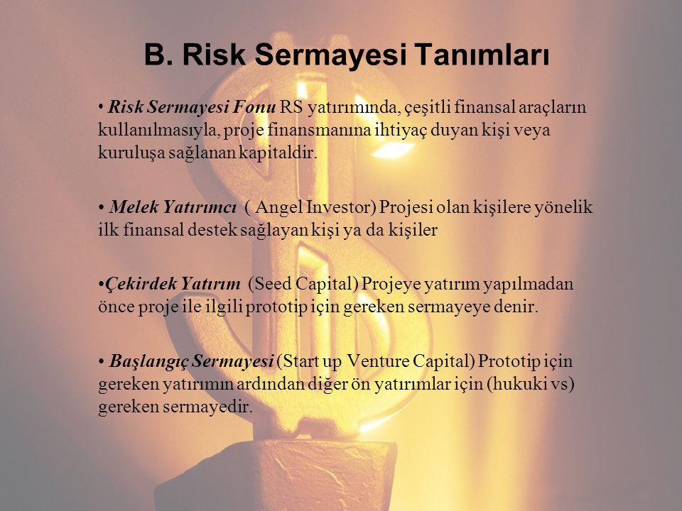B. Risk Sermayesi Tanımları Risk Sermayesi Fonu RS yatırımında, çeşitli finansal araçların kullanılmasıyla, proje finansmanına ihtiyaç duyan kişi veya