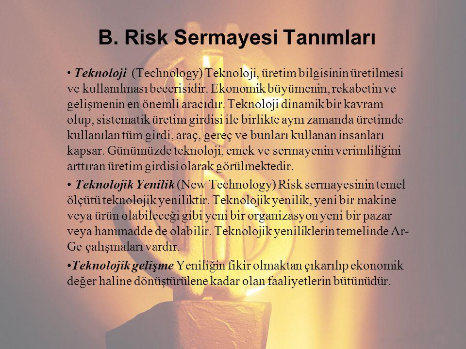 B. Risk Sermayesi Tanımları Teknoloji (Technology) Teknoloji, üretim bilgisinin üretilmesi ve kullanılması becerisidir. Ekonomik büyümenin, rekabetin