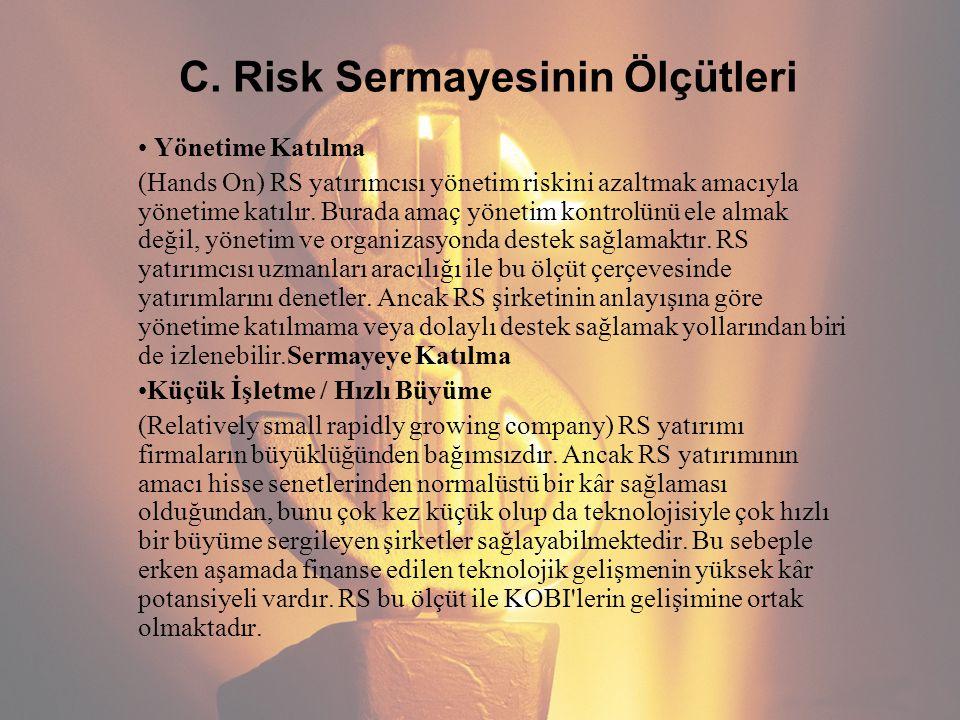C. Risk Sermayesinin Ölçütleri Yönetime Katılma (Hands On) RS yatırımcısı yönetim riskini azaltmak amacıyla yönetime katılır. Burada amaç yönetim kont