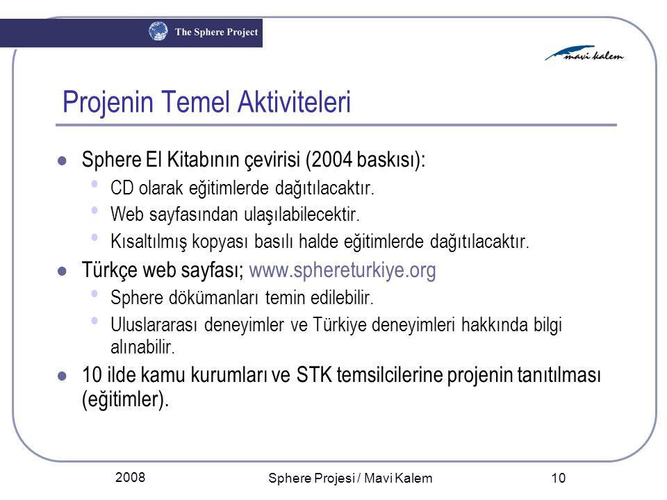 2008 Sphere Projesi / Mavi Kalem 10 Projenin Temel Aktiviteleri Sphere El Kitabının çevirisi (2004 baskısı): CD olarak eğitimlerde dağıtılacaktır. Web