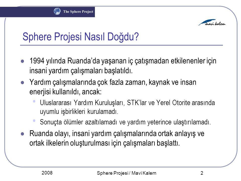 2008 Sphere Projesi / Mavi Kalem 2 Sphere Projesi Nasıl Doğdu? 1994 yılında Ruanda'da yaşanan iç çatışmadan etkilenenler için insani yardım çalışmalar