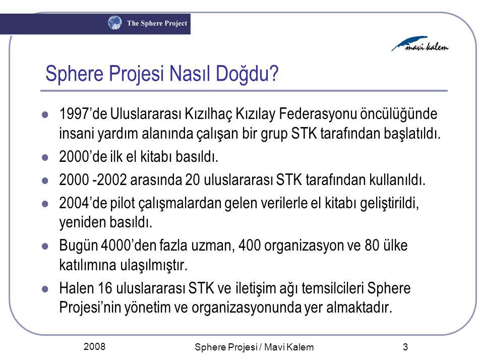2008 Sphere Projesi / Mavi Kalem 3 Sphere Projesi Nasıl Doğdu? 1997'de Uluslararası Kızılhaç Kızılay Federasyonu öncülüğünde insani yardım alanında ça