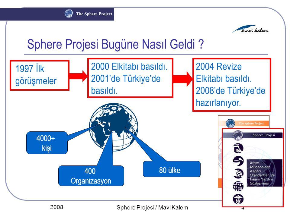 2008 Sphere Projesi / Mavi Kalem 4 Sphere Projesi Bugüne Nasıl Geldi ? 4000+ kişi 400 Organizasyon 80 ülke 1997 İlk görüşmeler 2000 Elkitabı basıldı.