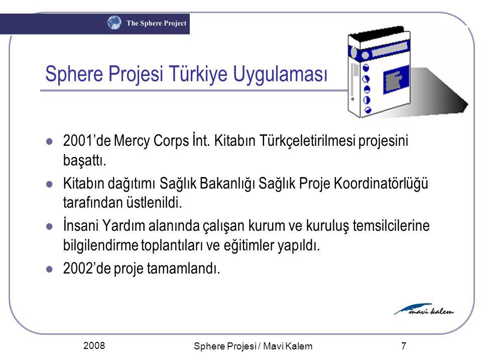 2008 Sphere Projesi / Mavi Kalem 8 Sphere Projesi Türkiye Uygulaması 2008'de El Kitabının yenilenmiş 2004 baskısının çevirisi ve eğitimle tanıtılması için Mavi Kalem Derneği bir proje başlattı.