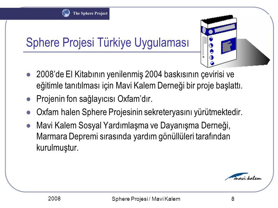 2008 Sphere Projesi / Mavi Kalem 9 Sphere Projesi Türkiye Uygulamasının Amacı: Uluslararası deneyimlerle zenginleşmiş Sphere El Kitabının Türkçeleştirilmesi, Türkiye'deki kurum ve kuruluş temsilcileri ile paylaşılması amacıyla eğitimlerin uygulanması, Afete hazırlık ve Müdahale alanında Türkiye'de: Oluşmuş deneyime ve bilgi birikimine katkıda bulunulması, Sphere Projesinden daha etkin yararlanılması, Ülkemiz deneyim ve birikimlerinin de Uluslararası Sphere Projesine aktarılması.