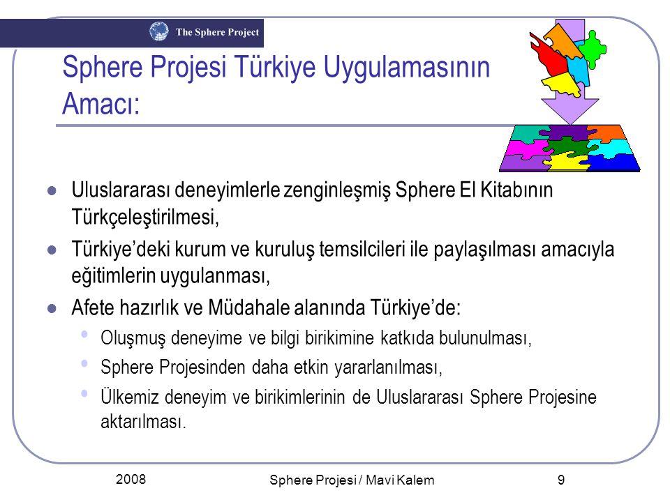 2008 Sphere Projesi / Mavi Kalem 9 Sphere Projesi Türkiye Uygulamasının Amacı: Uluslararası deneyimlerle zenginleşmiş Sphere El Kitabının Türkçeleştir
