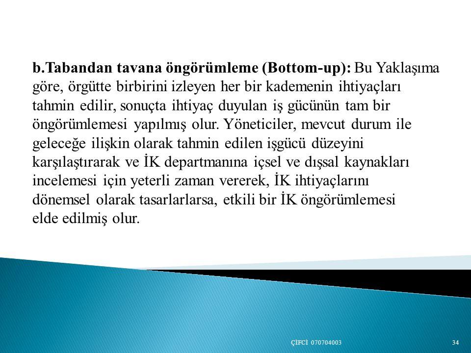 b.Tabandan tavana öngörümleme (Bottom-up): Bu Yaklaşıma göre, örgütte birbirini izleyen her bir kademenin ihtiyaçları tahmin edilir, sonuçta ihtiyaç d