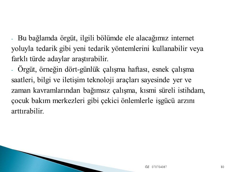 - Bu bağlamda örgüt, ilgili bölümde ele alacağımız internet yoluyla tedarik gibi yeni tedarik yöntemlerini kullanabilir veya farklı türde adaylar araş