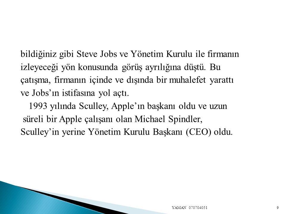 bildiğiniz gibi Steve Jobs ve Yönetim Kurulu ile firmanın izleyeceği yön konusunda görüş ayrılığına düştü. Bu çatışma, firmanın içinde ve dışında bir