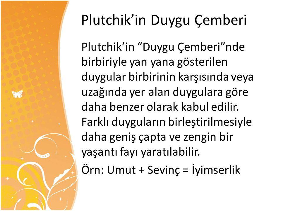 """Plutchik'in """"Duygu Çemberi""""nde birbiriyle yan yana gösterilen duygular birbirinin karşısında veya uzağında yer alan duygulara göre daha benzer olarak"""