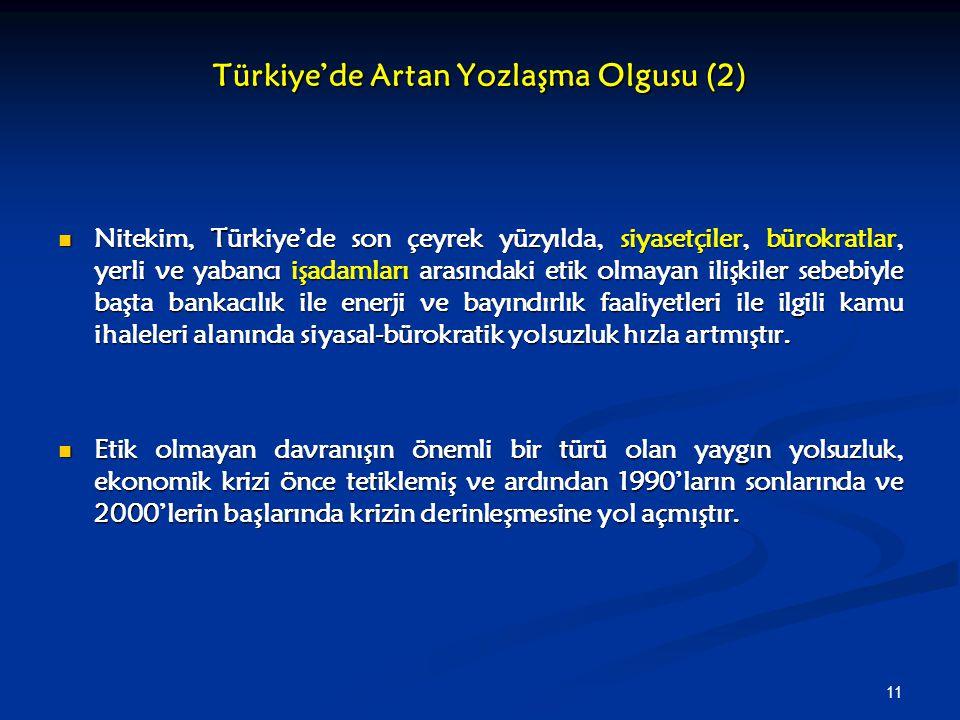 11 Türkiye'de Artan Yozlaşma Olgusu (2) Nitekim, Türkiye'de son çeyrek yüzyılda, siyasetçiler, bürokratlar, yerli ve yabancı işadamları arasındaki eti