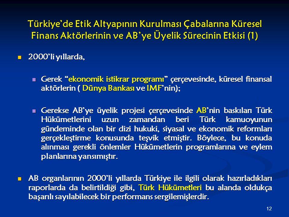 12 Türkiye'de Etik Altyapının Kurulması Çabalarına Küresel Finans Aktörlerinin ve AB'ye Üyelik Sürecinin Etkisi (1) 2000'li yıllarda, 2000'li yıllarda