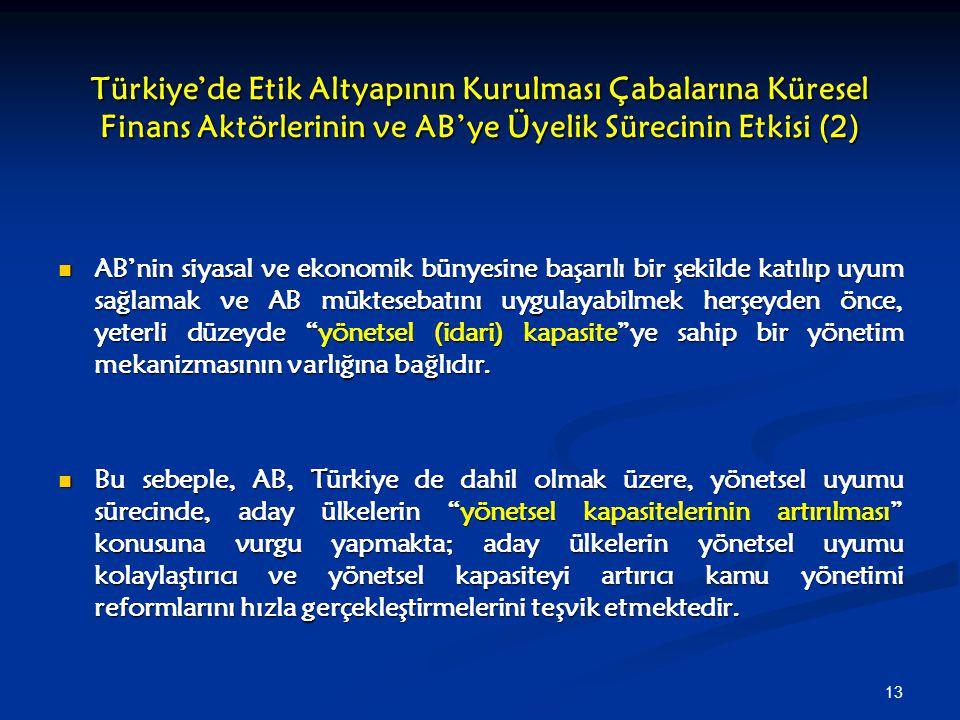 13 Türkiye'de Etik Altyapının Kurulması Çabalarına Küresel Finans Aktörlerinin ve AB'ye Üyelik Sürecinin Etkisi (2) AB'nin siyasal ve ekonomik bünyesi