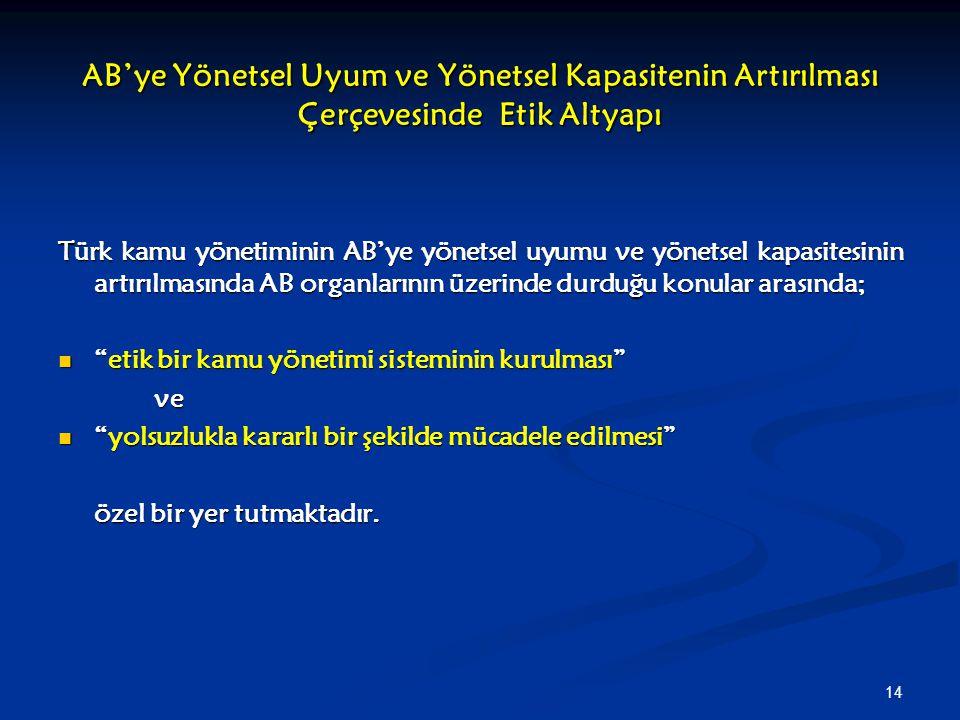 14 AB'ye Yönetsel Uyum ve Yönetsel Kapasitenin Artırılması Çerçevesinde Etik Altyapı Türk kamu yönetiminin AB'ye yönetsel uyumu ve yönetsel kapasitesi