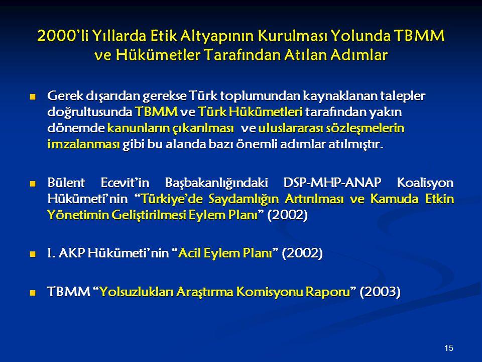 15 2000'li Yıllarda Etik Altyapının Kurulması Yolunda TBMM ve Hükümetler Tarafından Atılan Adımlar Gerek dışarıdan gerekse Türk toplumundan kaynaklana