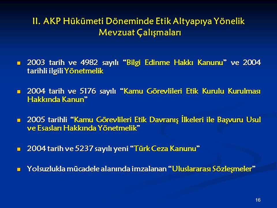 """16 II. AKP Hükümeti Döneminde Etik Altyapıya Yönelik Mevzuat Çalışmaları 2003 tarih ve 4982 sayılı """"Bilgi Edinme Hakkı Kanunu"""" ve 2004 tarihli ilgili"""