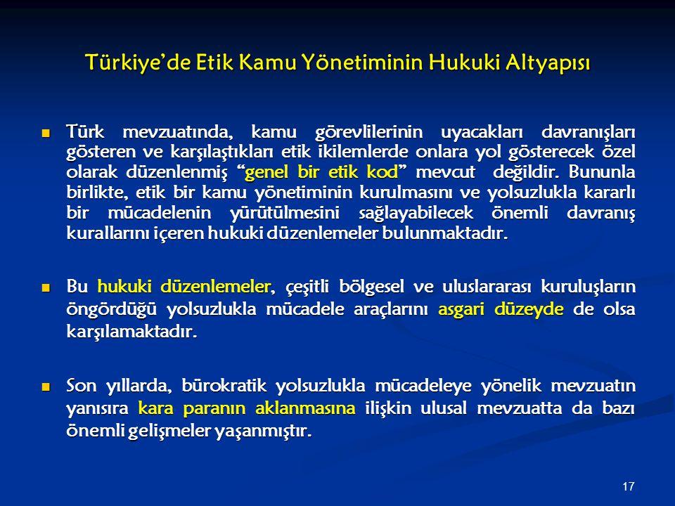 17 Türkiye'de Etik Kamu Yönetiminin Hukuki Altyapısı Türk mevzuatında, kamu görevlilerinin uyacakları davranışları gösteren ve karşılaştıkları etik ik