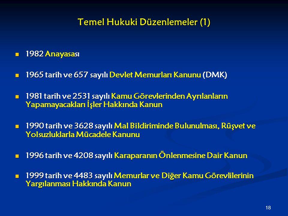 18 Temel Hukuki Düzenlemeler (1) 1982 Anayasası 1982 Anayasası 1965 tarih ve 657 sayılı Devlet Memurları Kanunu (DMK) 1965 tarih ve 657 sayılı Devlet