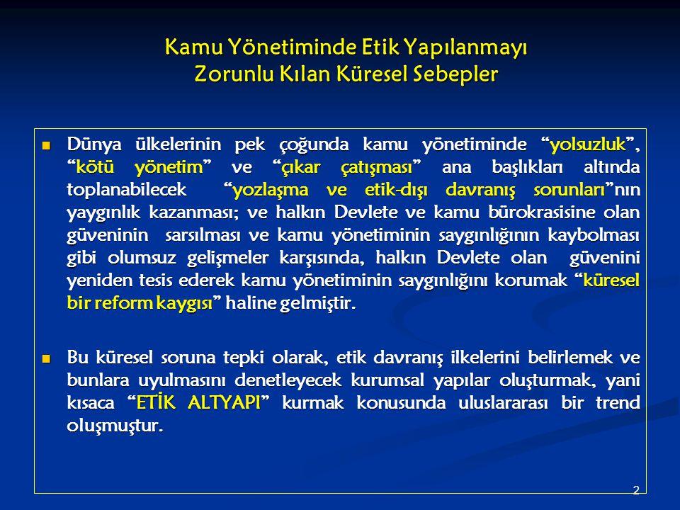 13 Türkiye'de Etik Altyapının Kurulması Çabalarına Küresel Finans Aktörlerinin ve AB'ye Üyelik Sürecinin Etkisi (2) AB'nin siyasal ve ekonomik bünyesine başarılı bir şekilde katılıp uyum sağlamak ve AB müktesebatını uygulayabilmek herşeyden önce, yeterli düzeyde yönetsel (idari) kapasite ye sahip bir yönetim mekanizmasının varlığına bağlıdır.