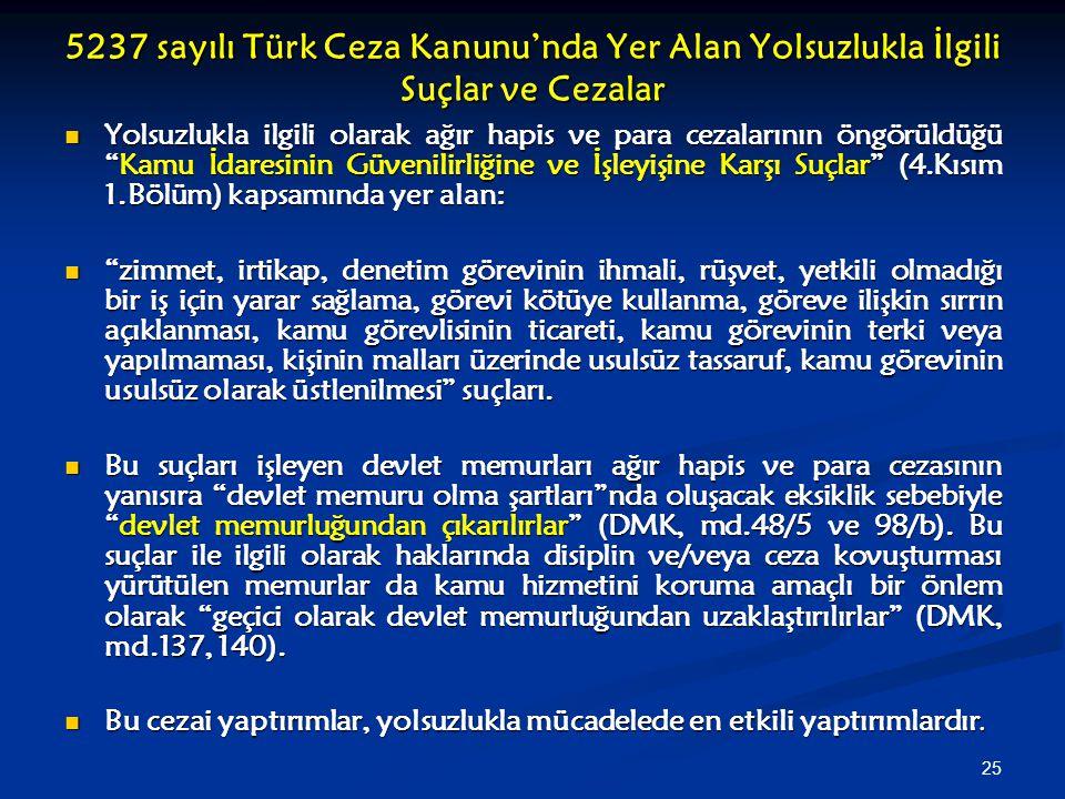 25 5237 sayılı Türk Ceza Kanunu'nda Yer Alan Yolsuzlukla İlgili Suçlar ve Cezalar Yolsuzlukla ilgili olarak ağır hapis ve para cezalarının öngörüldüğü