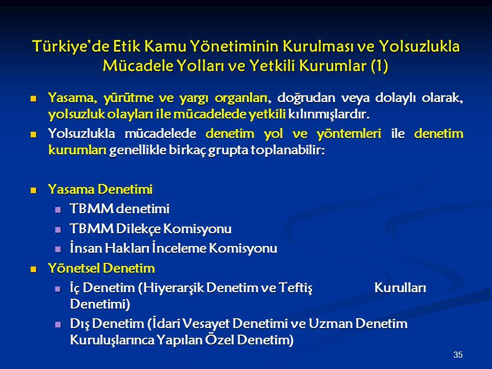 35 Türkiye'de Etik Kamu Yönetiminin Kurulması ve Yolsuzlukla Mücadele Yolları ve Yetkili Kurumlar (1) Yasama, yürütme ve yargı organları, doğrudan vey