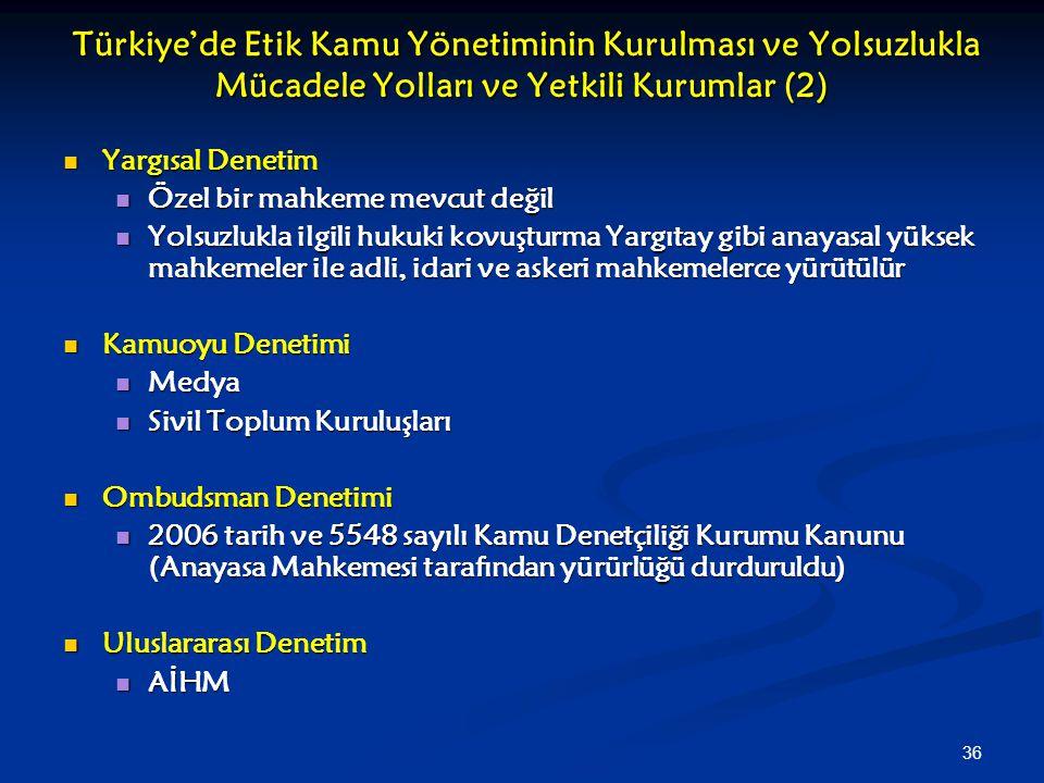 36 Türkiye'de Etik Kamu Yönetiminin Kurulması ve Yolsuzlukla Mücadele Yolları ve Yetkili Kurumlar (2) Türkiye'de Etik Kamu Yönetiminin Kurulması ve Yo