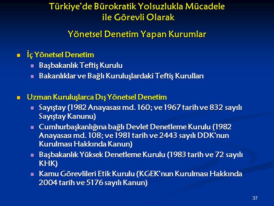 37 Türkiye'de Bürokratik Yolsuzlukla Mücadele ile Görevli Olarak Yönetsel Denetim Yapan Kurumlar İç Yönetsel Denetim İç Yönetsel Denetim Başbakanlık T