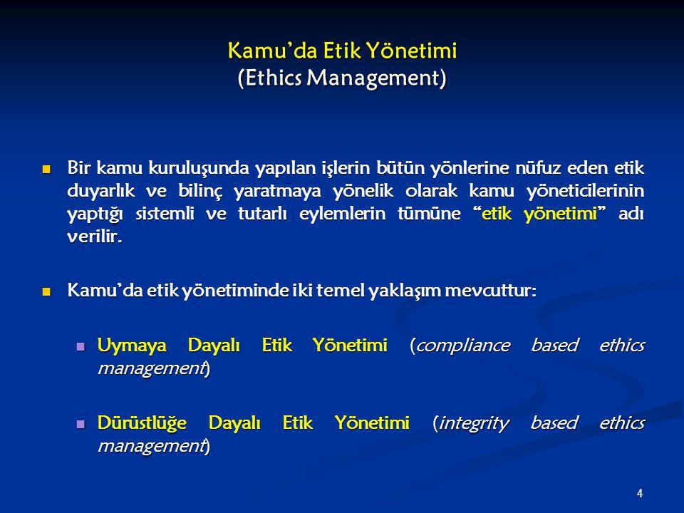5 Farklı Etik Yönetimi Anlayışları ile Kamu Yönetimi Reformları Arasındaki İlişki (1) Uymaya dayalı etik yönetimi, kamu görevlilerinin davranışı üzerinde, katı kurallar, ayrıntılı prosedürler ve kapsamlı denetim mekanizmaları (katı önlemler) aracılığı ile dış denetim in önemine vurgu yapar.