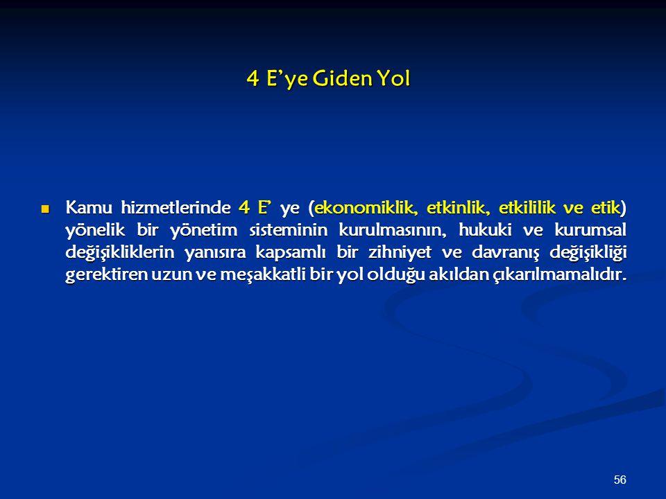 56 4 E'ye Giden Yol Kamu hizmetlerinde 4 E' ye (ekonomiklik, etkinlik, etkililik ve etik) yönelik bir yönetim sisteminin kurulmasının, hukuki ve kurum