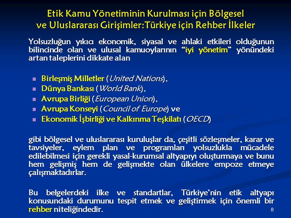 8 Etik Kamu Yönetiminin Kurulması için Bölgesel ve Uluslararası Girişimler:Türkiye için Rehber İlkeler Yolsuzluğun yıkıcı ekonomik, siyasal ve ahlaki
