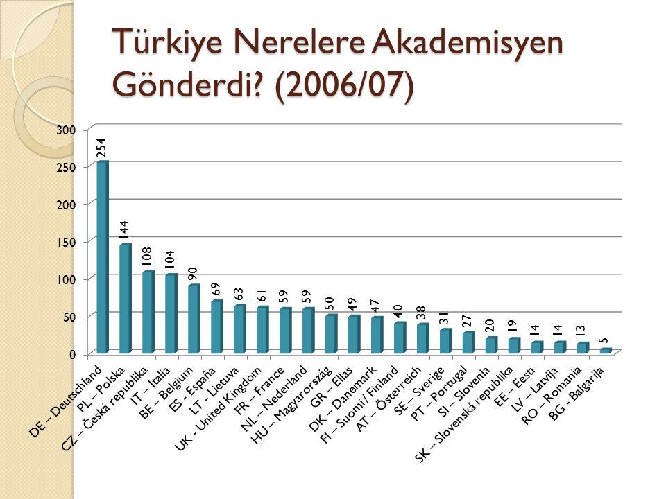 Türkiye Nerelere Akademisyen Gönderdi (2006/07)